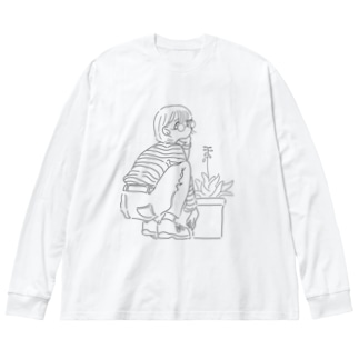アロエの花 Big silhouette long sleeve T-shirts