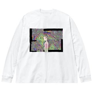 バグと女の子 Big silhouette long sleeve T-shirts