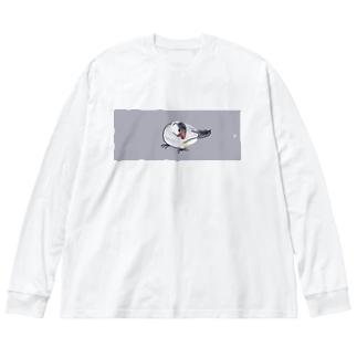 文鳥 Big silhouette long sleeve T-shirts