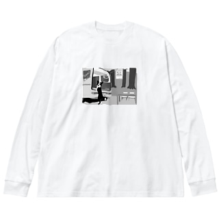 妄想どんちゃんカフェ Big silhouette long sleeve T-shirts