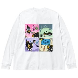 モンちゃんの楽しそうな日常 Big silhouette long sleeve T-shirts