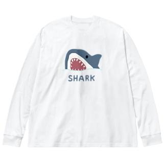 サメ Big silhouette long sleeve T-shirts