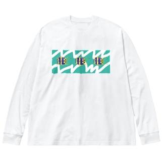 ギザギザずんぐりくん Big silhouette long sleeve T-shirts