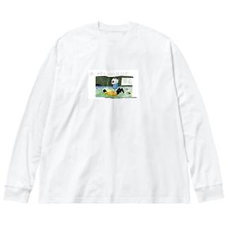 夜、世界を二人で抜け出す(miotorahatiコラボ) Big silhouette long sleeve T-shirts