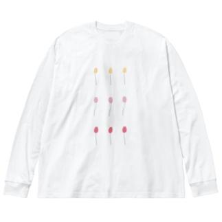 チューリップ きいろぴんくあか Big silhouette long sleeve T-shirts