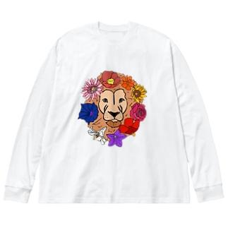 フラワーライオン Big silhouette long sleeve T-shirts