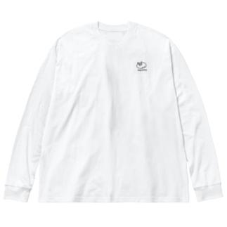 まちょこ(黒) Big silhouette long sleeve T-shirts