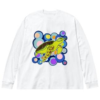 バブルカメ Big silhouette long sleeve T-shirts