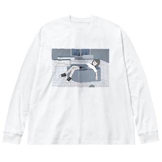 夜に溺れてしまうの Big silhouette long sleeve T-shirts