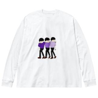 shinが3人 Big silhouette long sleeve T-shirts