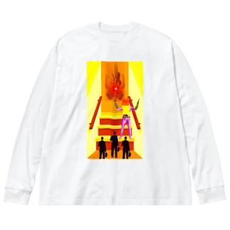 重役リモート面接 Big silhouette long sleeve T-shirts