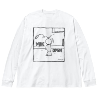 PBスティック君 wide open  Big silhouette long sleeve T-shirts