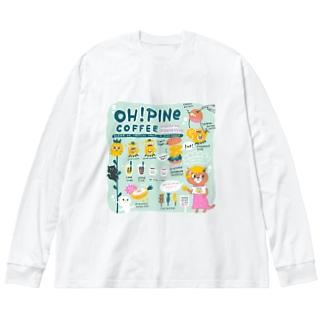 オーパインコーヒー Big silhouette long sleeve T-shirts