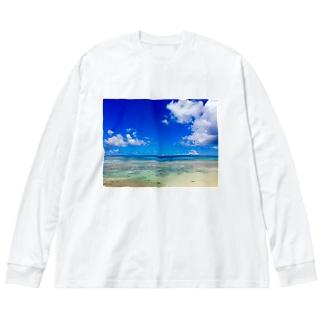 Heaven's blue Big silhouette long sleeve T-shirts