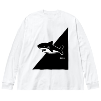 サメくん Big silhouette long sleeve T-shirts