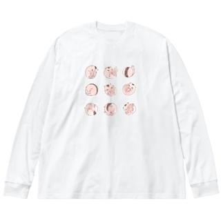 <カラー>ヤマネころころ Big silhouette long sleeve T-shirts