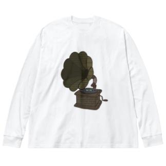 蓄音機 Big silhouette long sleeve T-shirts