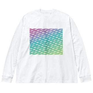 レインボーワカサギ Big silhouette long sleeve T-shirts