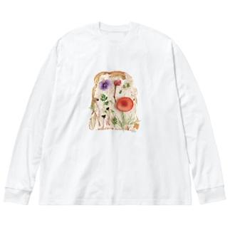 ℂ𝕙𝕚𝕟𝕒𝕥𝕤𝕦 ℍ𝕚𝕘𝕒𝕤𝕙𝕚 東ちなつの押し花トースト Big silhouette long sleeve T-shirts