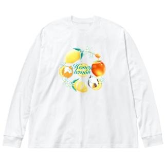 ねことはちみつレモン Big silhouette long sleeve T-shirts