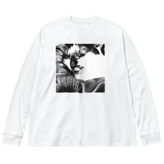 ハードボイルド猫 Big silhouette long sleeve T-shirts