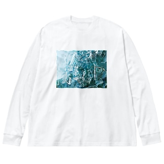 glassRed01 Big silhouette long sleeve T-shirts