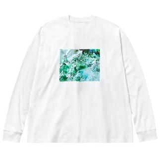 glass woods01 Big silhouette long sleeve T-shirts