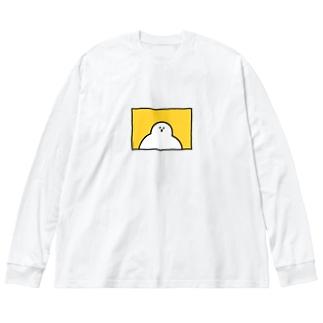 きいてるきいてるー Big silhouette long sleeve T-shirts