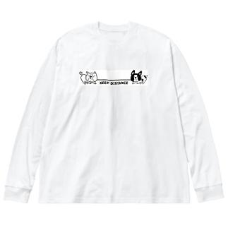 綱引き犬 Big silhouette long sleeve T-shirts