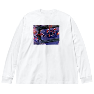 火炎 Big silhouette long sleeve T-shirts