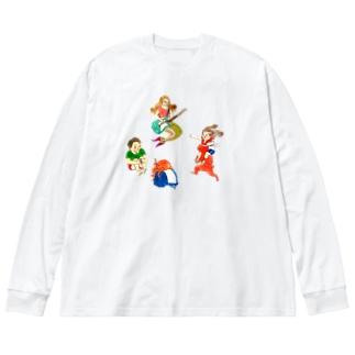 ウサタコ人魚 Big silhouette long sleeve T-shirts