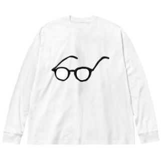 めがね。シンプル Big silhouette long sleeve T-shirts