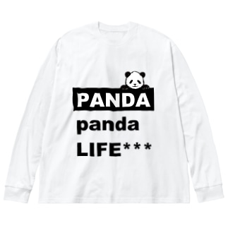 のぞきこみパンダ Big silhouette long sleeve T-shirts