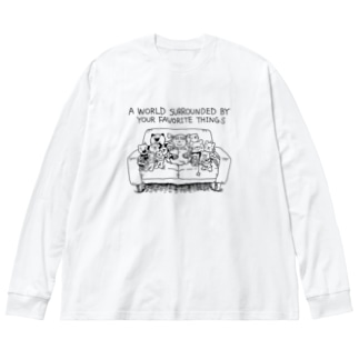 大好きなモノに囲まれた世界 Big silhouette long sleeve T-shirts