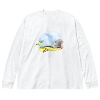 妖怪タオルまみれ Big silhouette long sleeve T-shirts