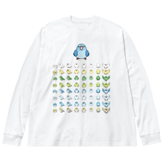 整列マメルリハ隊【まめるりはことり】 Big silhouette long sleeve T-shirts