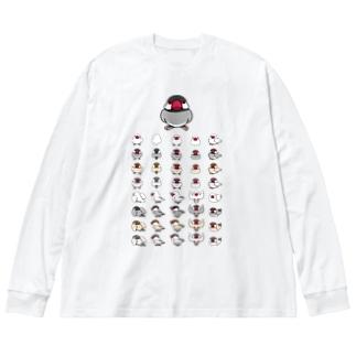 整列文鳥隊【まめるりはことり】 Big silhouette long sleeve T-shirts