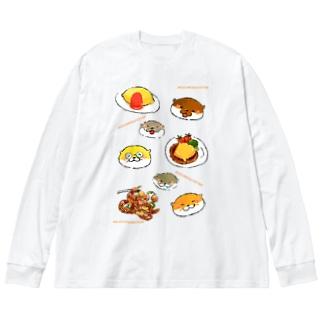 モグモグオッター Big silhouette long sleeve T-shirts