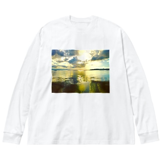 鏡の世界 Big silhouette long sleeve T-shirts