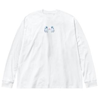 なかよしペンギン Big silhouette long sleeve T-shirts