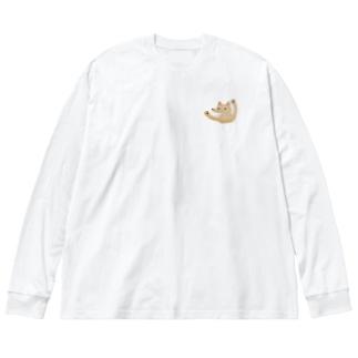 おおかみ Big silhouette long sleeve T-shirts