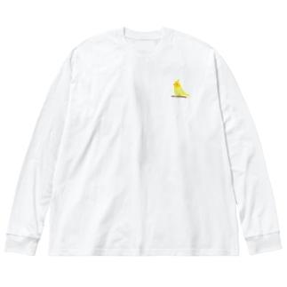 オカメインコ Big silhouette long sleeve T-shirts