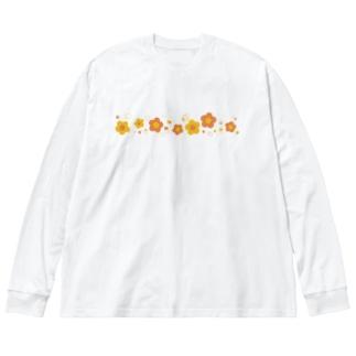 黄色とオレンジ色のレトロなお花 Big silhouette long sleeve T-shirts