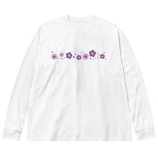紫色のレトロなお花 Big silhouette long sleeve T-shirts