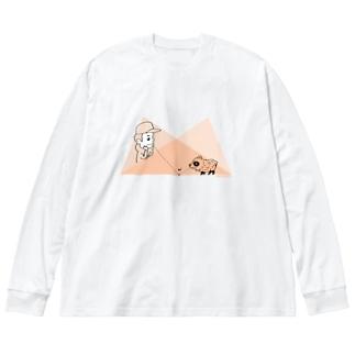 タヌキと少年の幾何学 Big silhouette long sleeve T-shirts