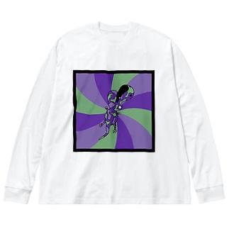 毒されサウルス2(色違い) Big silhouette long sleeve T-shirts