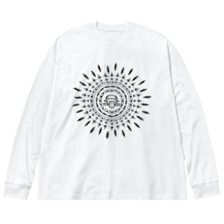 アジアンチックなカモノハシ Big silhouette long sleeve T-shirts