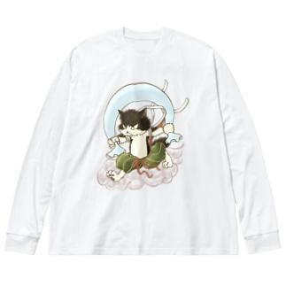 風猫雷猫図屏風 Big silhouette long sleeve T-shirts