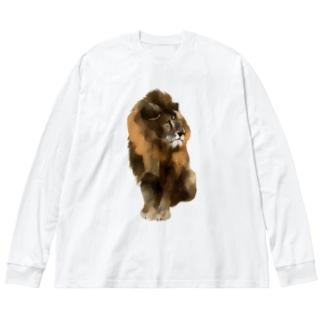 Animals シリーズ 〜ライオン〜 Big silhouette long sleeve T-shirts