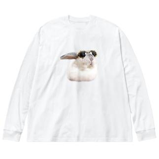 ファンキーしろちゃん Big silhouette long sleeve T-shirts